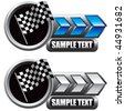 racing checkered flag blue and white arrow nameplates - stock photo