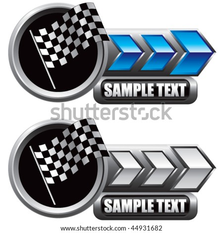 racing checkered flag blue and white arrow nameplates - stock vector