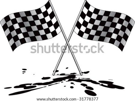 racing checkered flag on oil - stock vector