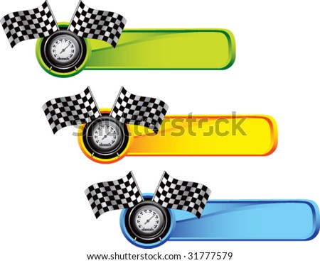 racing checkered flags and speedometer on colored tabs - stock vector
