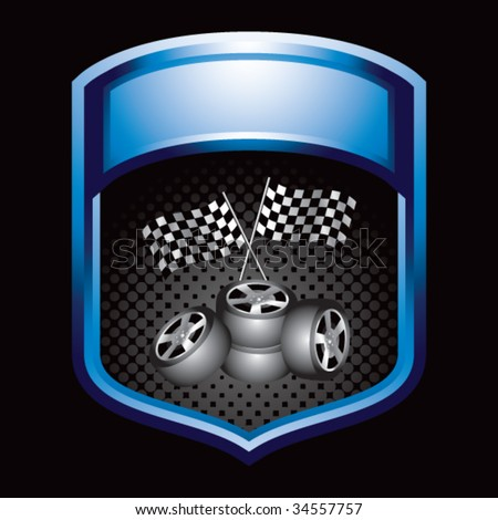 racing checkered flags and tires on display crest - stock vector