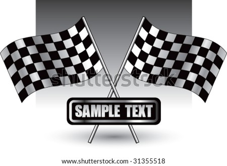 racing checkered flags on nameplate - stock vector