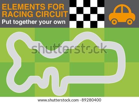 Racing circuit elements - stock vector