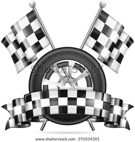 Racing Concept - Tire with Flags and Ribbon, vector isolated on white background