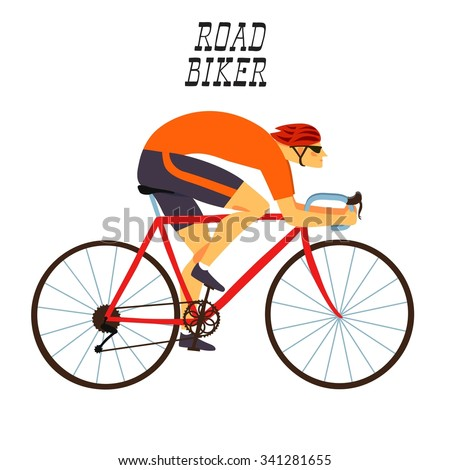 Racing cyclist in action. Fast road biker. Editable vector illustration.  - stock vector