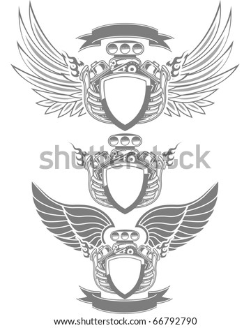 Racing emblem with engine, wings and ribbon - stock vector