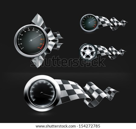 Racing emblems vector on black - stock vector