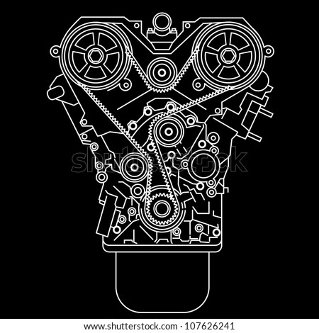 racing engine, front view. Vector illustration. - stock vector