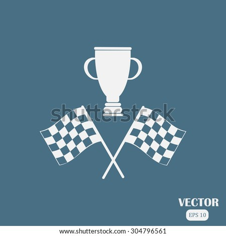 racing flag and cup winner