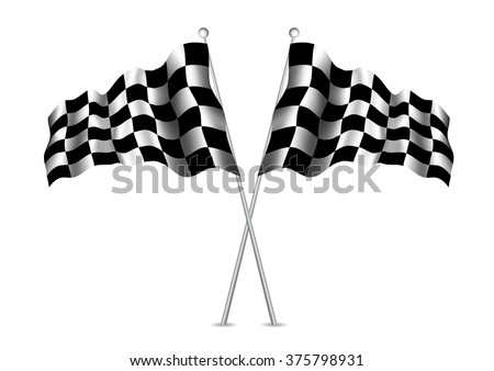 Racing flag (checkered flag) with realistic shades. Vector eps10. - stock vector