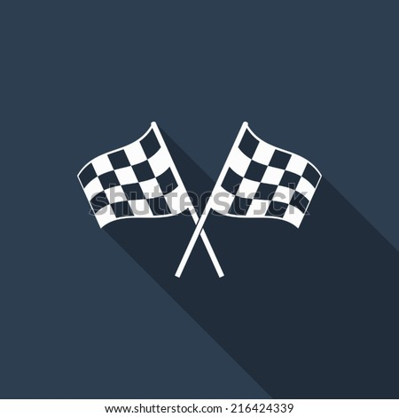 racing flag icon with long shadow - stock vector