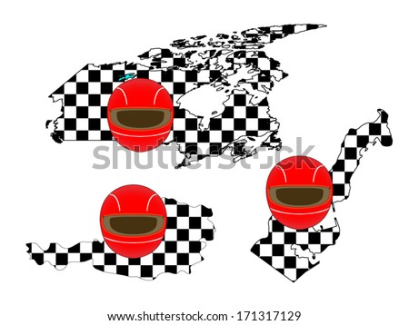 Racing Flag Maps 4 Canada Austria Monaco - stock vector