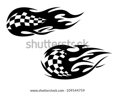Racing flag with flames as a racing sports tattoo, such a logo. Jpeg version also available in gallery - stock vector