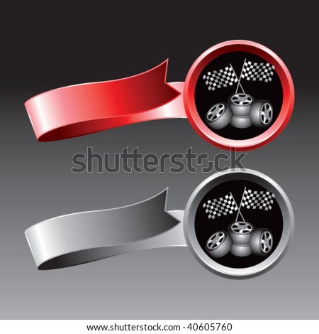 racing flags and tires on ribbon banner - stock vector