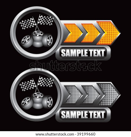 racing flags and tires on shiny arrow banners - stock vector