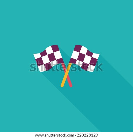 racing flags flat icon with long shadow,eps10 - stock vector