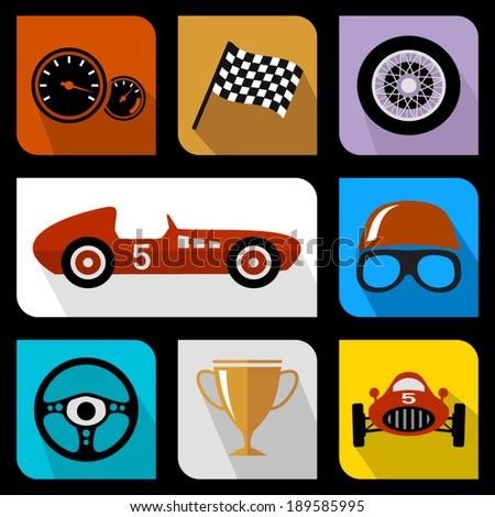 Racing flat icons - stock vector