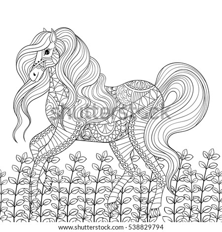 Racing Horse Adult Anti Stress Coloring Page Hand Drawn Zentangle Mustang For Colouring Book