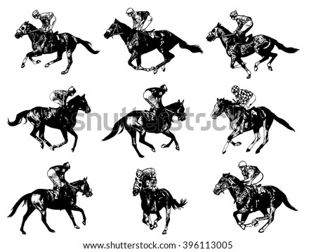 racing horses and jockeys illustration - vector - stock vector