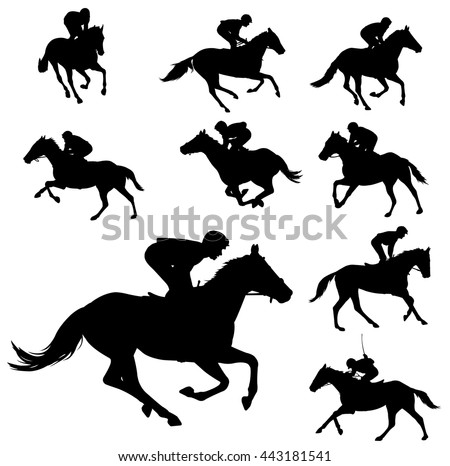 racing horses and jockeys silhouettes 2 - vector - stock vector