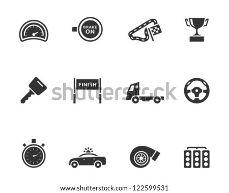 Racing icon series in single color style - stock vector