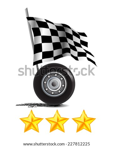 Racing Icon With Rating Stars - stock vector