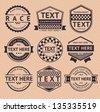 Racing insignia, vintage style, vector illustration - stock vector