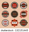 Racing labels - vintage style, vector illustration - stock vector