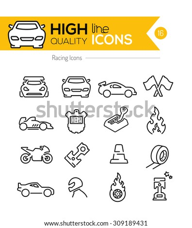 Racing Line Icons - stock vector