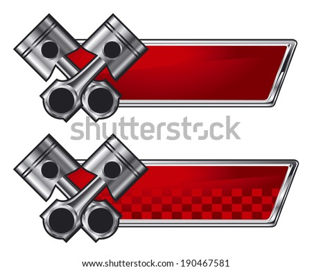 racing pistons with red banner - stock vector