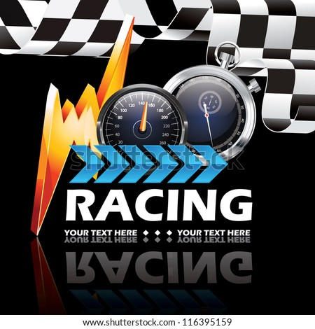 Racing poster promo vector illustration - stock vector