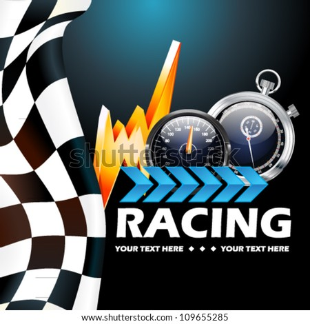Racing poster vector illustration - stock vector