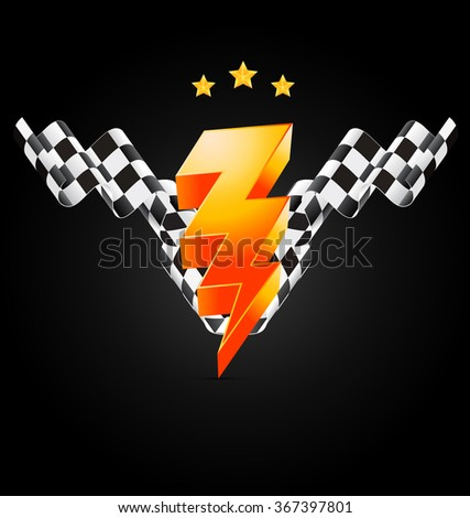 Racing poster with flash sign and checkered flags