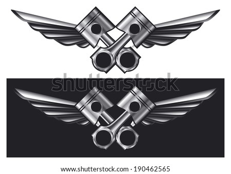 racing shield with pistons and wings - stock vector