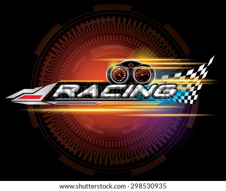 RACING SIGN VECTOR - stock vector