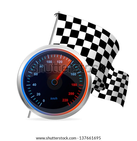 Racing Speedometer and checkered flag. Vector - stock vector