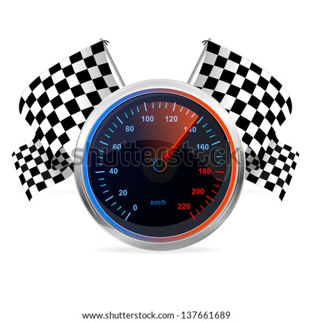 Racing Speedometer and checkered flags. Vector - stock vector