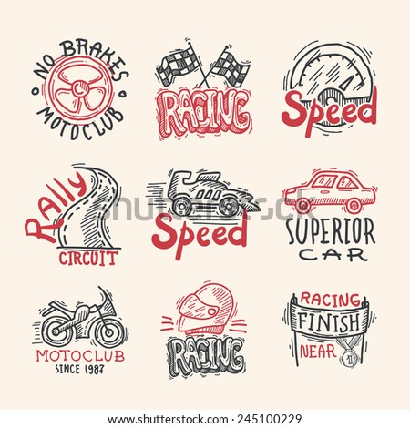 Racing superior car rally circuit sketch emblems set isolated vector illustration - stock vector