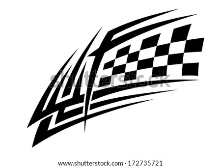 Racing tattoo in tribal style for sports design - stock vector