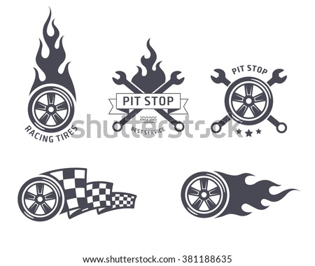 Racing tires and service vector emblems - stock vector