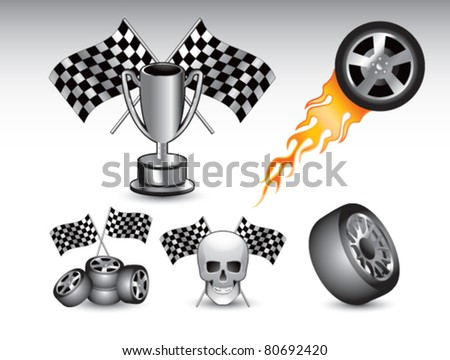 Racing tires, flags, trophy, and skull on white background - stock vector