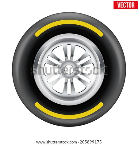 Racing wheel and tire symbol with yellow strip. Vector Illustration isolated on white background. - stock vector