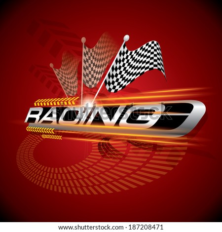 Racing with Checkered Flags Concept Vector - stock vector