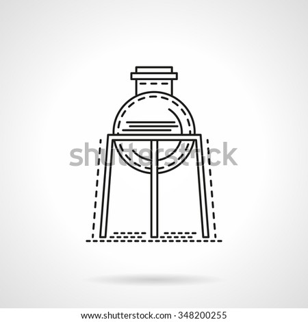 Rack with empty flask. Laboratory glassware. Chemical, biological and medical lab equipment. Science and education. Flat line vector icon. Single web design element for mobile app or website. - stock vector