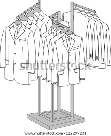 Rack with four arms for clothes - stock vector