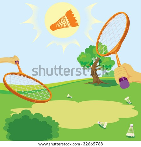 Racket and shuttlecock for game in badminton. vector. illustration - stock vector