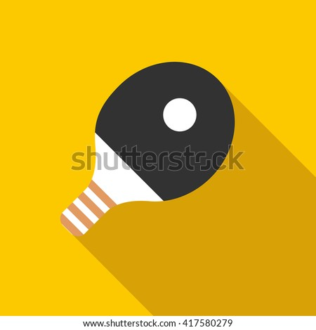 Racket for playing table tennis icon, flat style - stock vector