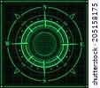 Radar compass rose with globe. Vector illustration. - stock vector