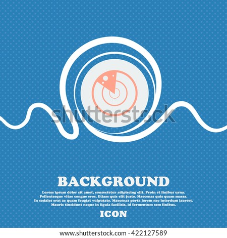radar icon sign. Blue and white abstract background flecked with space for text and your design. Vector illustration - stock vector