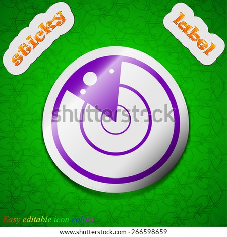 radar icon sign. Symbol chic colored sticky label on green background. Vector illustration - stock vector